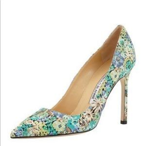 Manolo Blahnik BB Floral BLUE. AMAZING CONDITION.